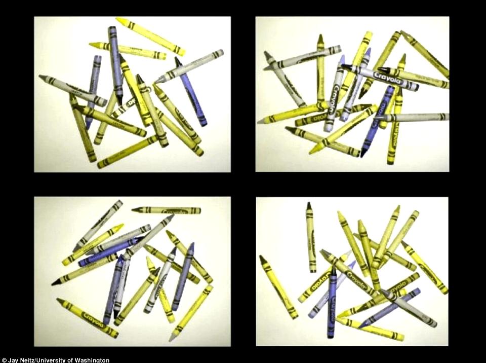 Bunte Stifte aus Sicht von Farbenblinden