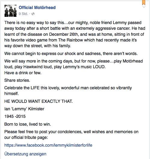 Das Statement der Bandmitglieder von Lemmy Kilmister auf Facebook